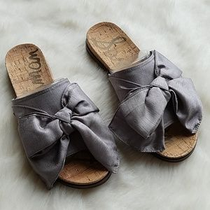Sam Edelman Shoes - Sam Edelman Silver Henna Bow Slides | 7.5